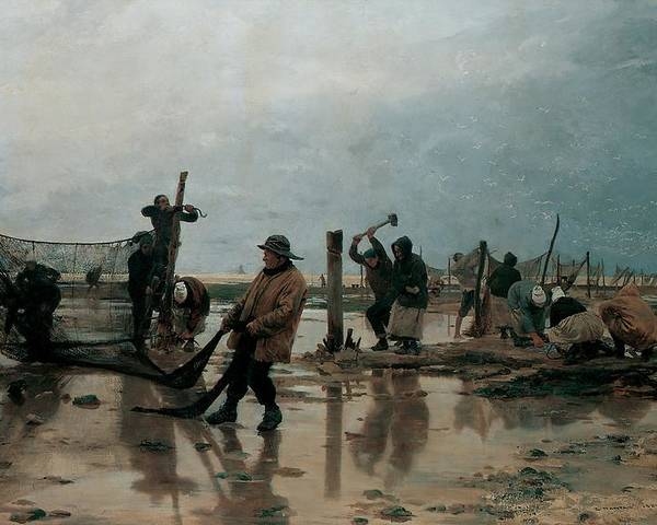 Fastening; Nets; Fishing; Fishermen; Net; Beach; Wet; Grey; Atmospheric; Work; Laborer; Worker; Workers; Laborers; Labor; Low Tide; Preparation; Fisherman; Cloudy; Ocean Poster featuring the painting Fastening The Nets by Edouard Joseph Dantan