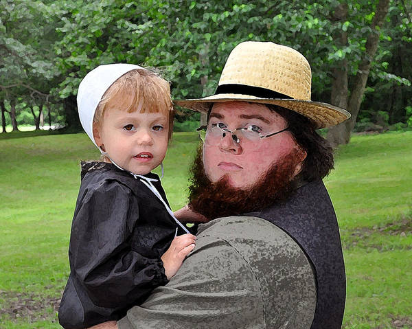 Amish Poster featuring the photograph Father Daughter Time by Brian Graybill
