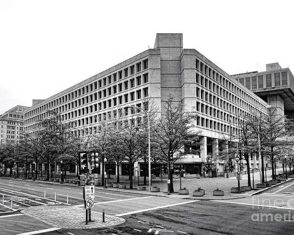 Fbi Poster featuring the photograph Fbi Building Front View by Olivier Le Queinec