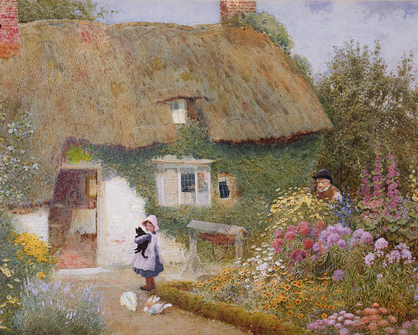 Thatch Poster featuring the painting Feeding The Pigeons by Arthur Claude Strachan