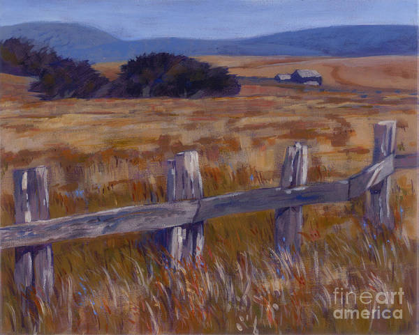 Landscape Poster featuring the painting Fenced Field - Point Arenas Ca by Betsee Talavera