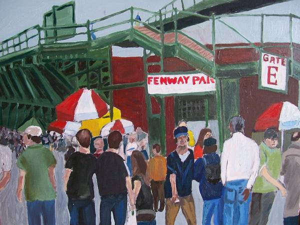 Landscape Poster featuring the painting Fenway Park Spring Time by Carmela Cattuti