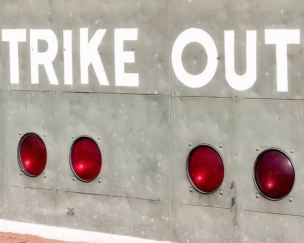Green Monster Poster featuring the photograph Fenway Park Strike - Out Scoreboard by Susan Candelario