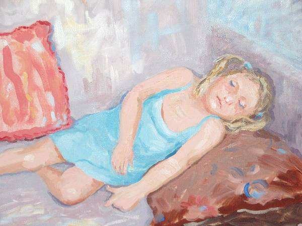 Portrait Poster featuring the painting Ferne Asleep by Elinor Fletcher