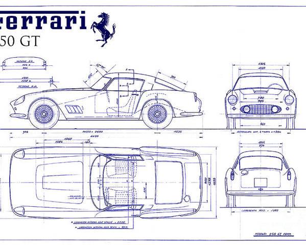 Ferrari 250 gt blueprint poster by jon neidert ferrari 250 gt blueprint poster featuring the photograph ferrari 250 gt blueprint by jon neidert malvernweather Gallery