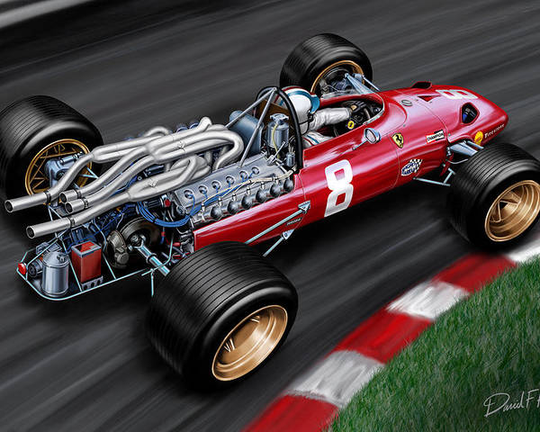 Formula One Poster featuring the painting Ferrari 312 F-1 Car by David Kyte
