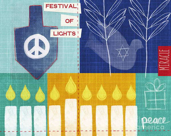 Hanukkah Poster featuring the painting Festival Of Lights by Linda Woods