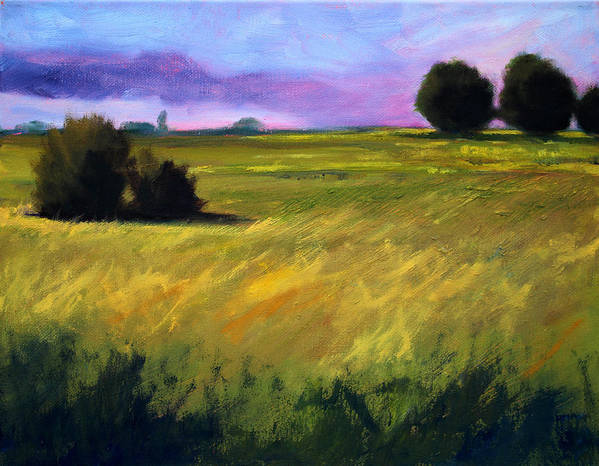 Oregon Poster featuring the painting Field Textures by Nancy Merkle