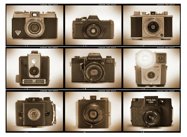 Vintage Film Cameras Poster featuring the photograph Film Camera Proofs 3 by Mike McGlothlen