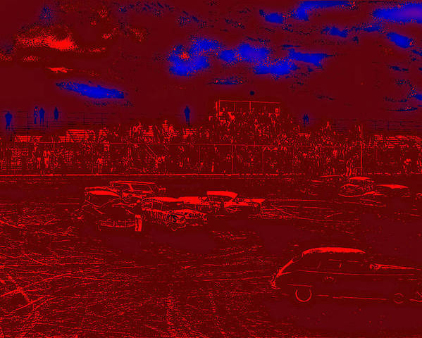 Film Homage Damnation Alley 2 1977 Demolition Derby Tucson Arizona 1968-2008 Toning Color Drawing Added Poster featuring the photograph Film Homage Damnation Alley 2 1977 Demolition Derby Tucson Arizona 1968-2008 by David Lee Guss