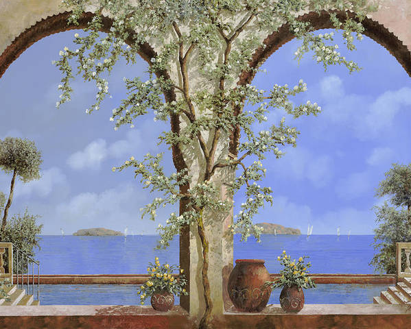 White Flowers Poster featuring the painting Fiori Bianchi Sulla Parete by Guido Borelli