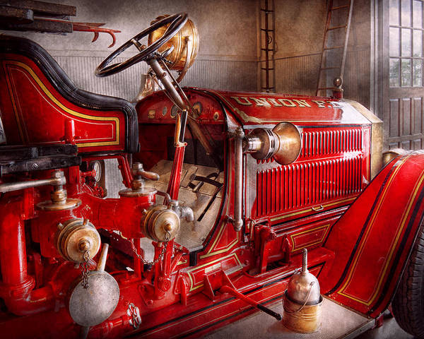 Fireman Poster featuring the photograph Fireman - Truck - Waiting For A Call by Mike Savad