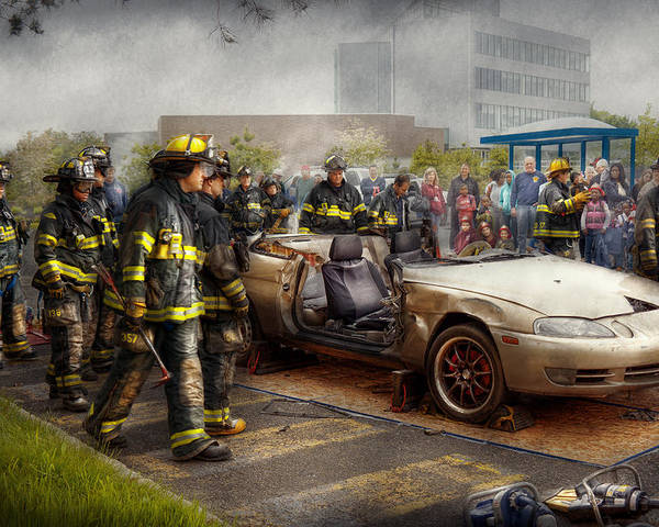 Fireman Poster featuring the photograph Firemen - The Fire Demonstration by Mike Savad