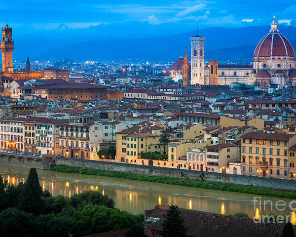 Arno Poster featuring the photograph Firenze By Night by Inge Johnsson