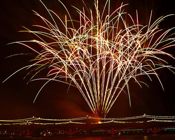 July 4th Poster featuring the photograph Fireworks At Tempe Town Lake by Saija Lehtonen