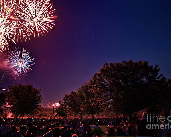 Fireworks. Forth Of July 4th Of July Poster featuring the photograph Fireworks In St. Charles by Cindy Tiefenbrunn