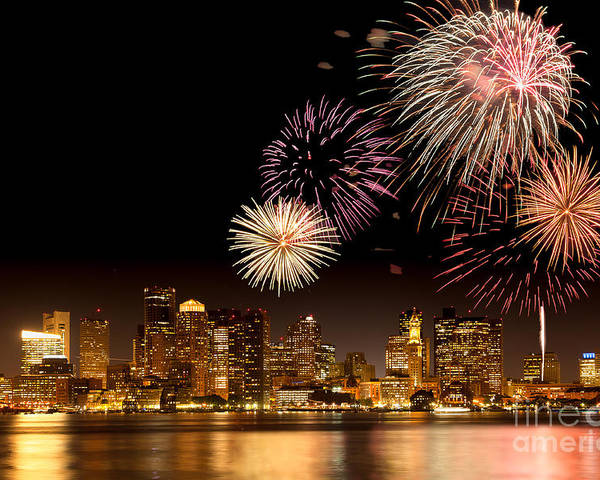 4th Of July Poster featuring the photograph Fireworks Over Boston Harbor by Susan Cole Kelly