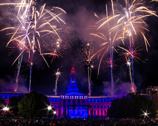 4th Poster featuring the photograph Fireworks Over Denver City And County Building by Teri Virbickis