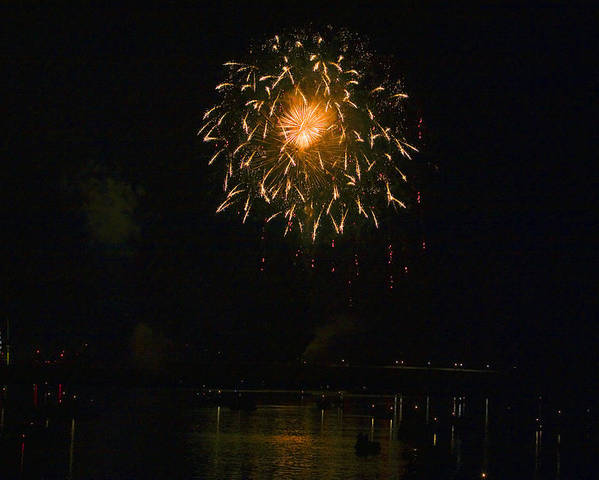 Boats Poster featuring the photograph Fireworks Over Market Street Bridge by Gene Walls