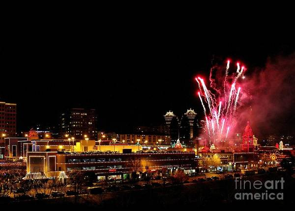 Plaza Lights Poster featuring the photograph Fireworks Over The Kansas City Plaza Lights by Catherine Sherman