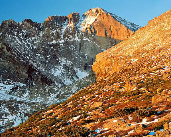 Landscapes Poster featuring the photograph First Light At Longs Peak by Eric Glaser