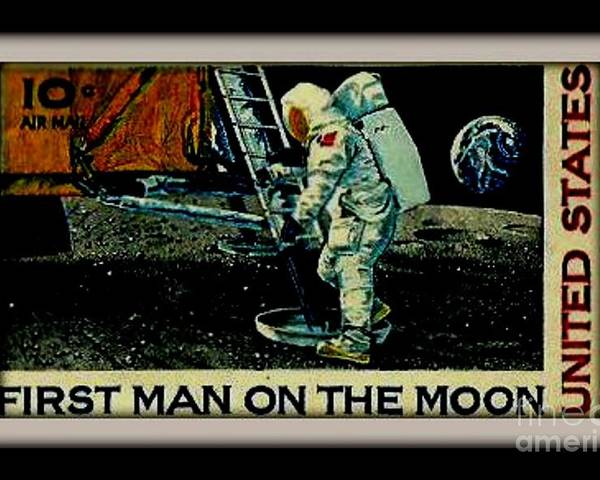Stamp Poster Featuring The Photograph First Man On Moon Postage United States By Gail Matthews