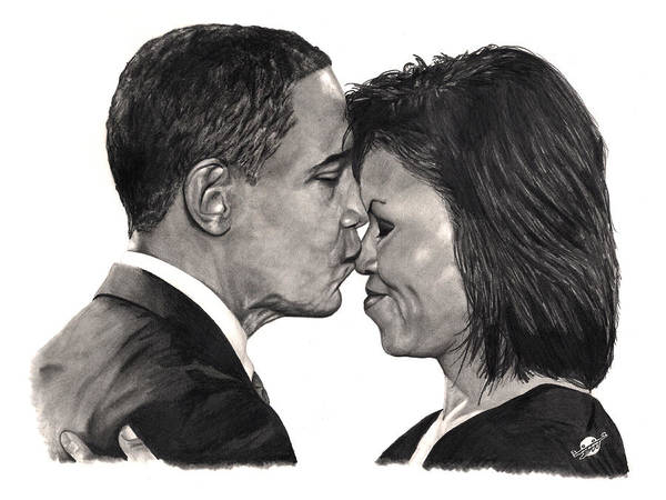 Obama Poster featuring the drawing First Order Of Business by Brian Wylie