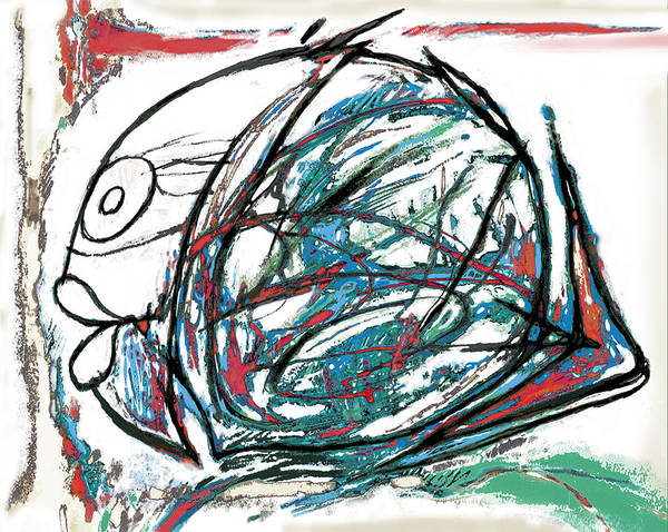 Pop Art Poster featuring the painting Fish Morden Art Drawing Painting by Kim Wang