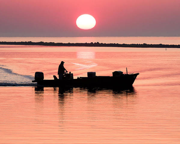 Apalachicola Poster featuring the photograph Fisherman At Sunrise Apalachicola Bay Florida by Bill Swindaman