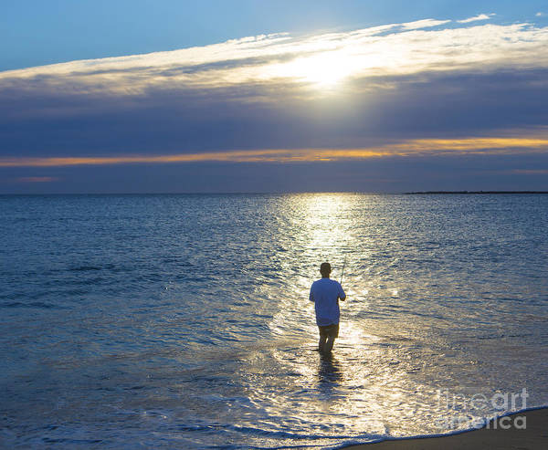 Fishing Poster featuring the photograph Fisherman At Sunrise by Diane Diederich