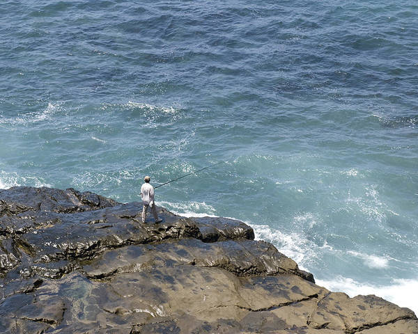 Ocean Poster featuring the photograph Fisherman On Remore Reef by Joe Belanger