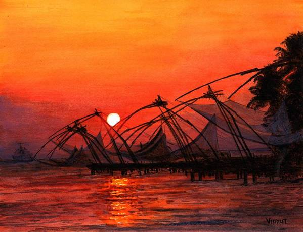 Sunset Poster featuring the painting Fisherman Sunset In Kerala-india by Vidyut Singhal