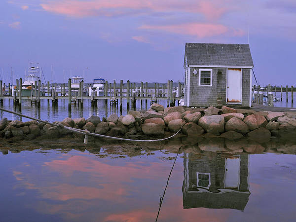 Landscape Poster featuring the photograph Fisherman's Shack Sundown by Phyllis Tarlow