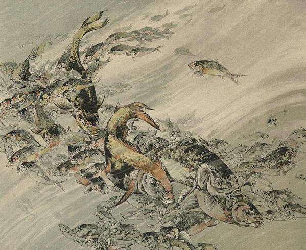 Fish Poster featuring the painting Fishes by Jules-Auguste Habert-Dys