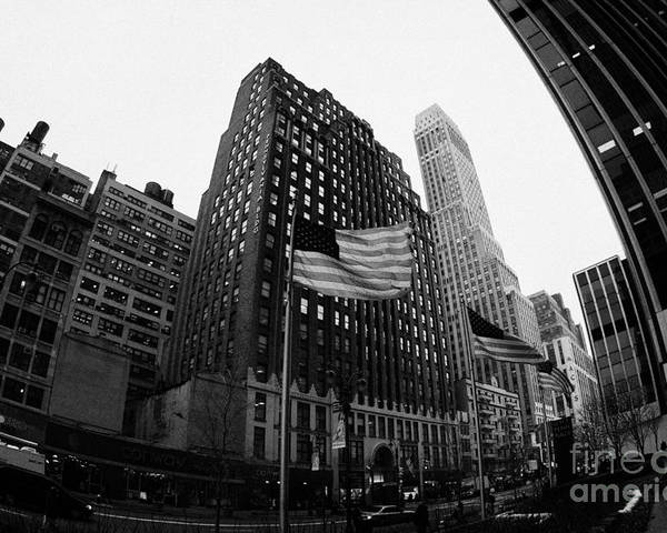 Usa Poster featuring the photograph Fisheye View Of 34th Street From 1 Penn Plaza New York City by Joe Fox