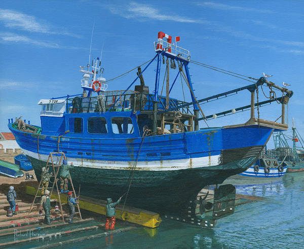 Fishing Boat Poster featuring the painting Fishing Boart Repairs Essaouira Morocco by Richard Harpum