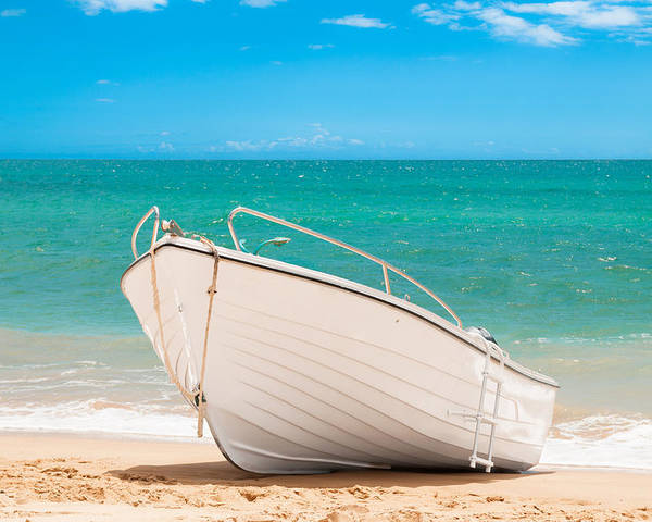 Fishing Poster featuring the photograph Fishing Boat On The Beach Algarve Portugal by Amanda Elwell