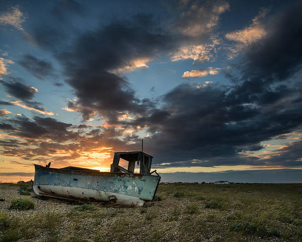 Long Exposure Poster featuring the photograph Fishing Boat Sunset by Matthew Gibson