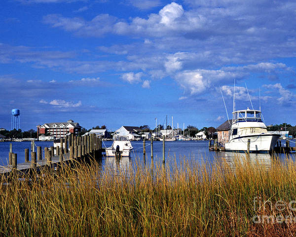 Dock Poster featuring the photograph Fishing Boats At Dock Ocracoke Island by Thomas R Fletcher