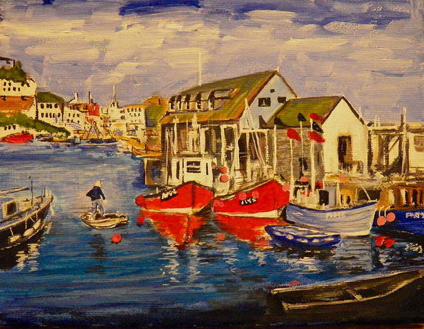 Seascape Poster featuring the painting Fishing Boats by Jim Reale