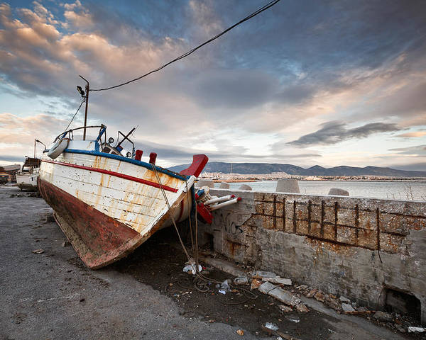 Fishing Boat Poster featuring the photograph fishing boats 'XVI by Milan Gonda