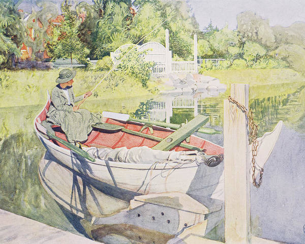 Sunshine Poster featuring the painting Fishing by Carl Larsson