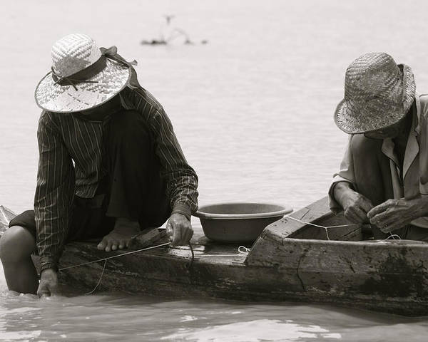 Cambodia Poster featuring the photograph Fishing On Tonle Sap by John Meader