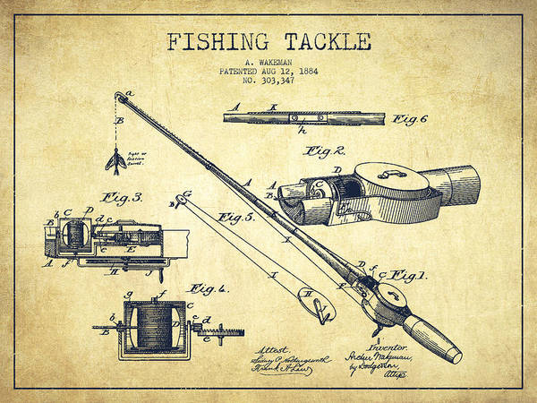 Fishing Tackle Poster featuring the digital art Fishing Tackle Patent From 1884 by Aged Pixel