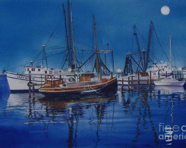 Night Poster featuring the painting Fishmoon by Karol Wyckoff