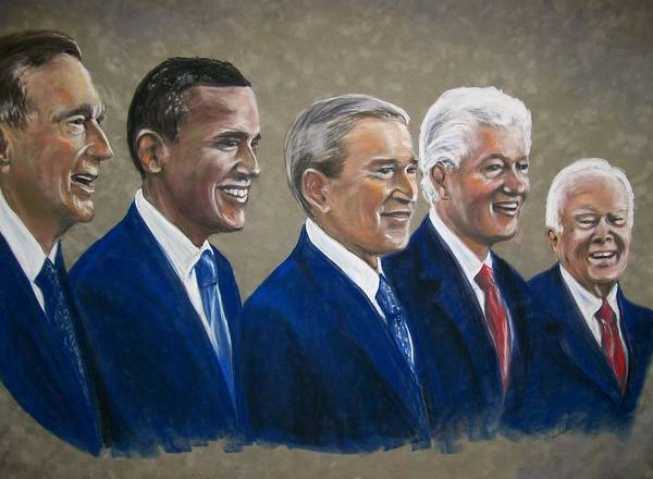 Martha Suhocke Poster featuring the pastel Five Living Presidents 2009 by Martha Suhocke