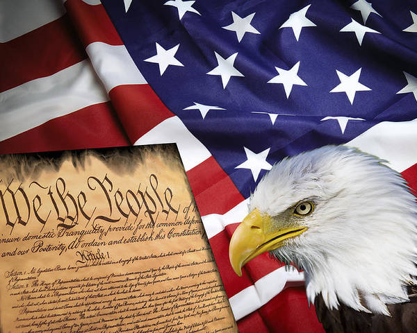 America Poster featuring the digital art Flag Constitution Eagle by Daniel Hagerman