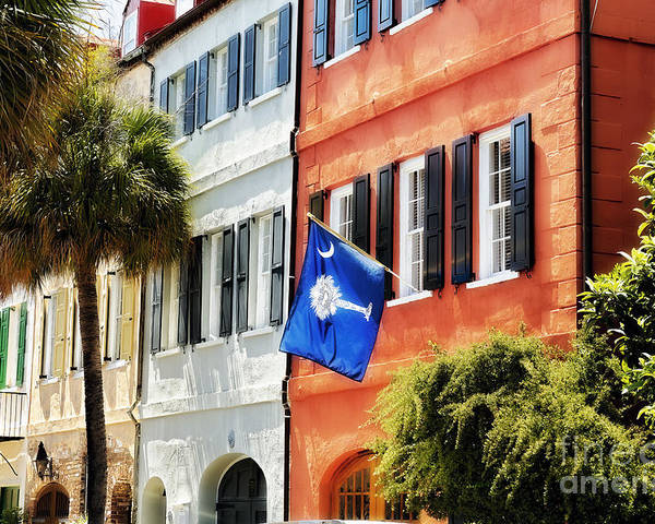 Charleston Poster featuring the photograph Flag Of Charleston With Palmetto And Crescent Moon by George Oze