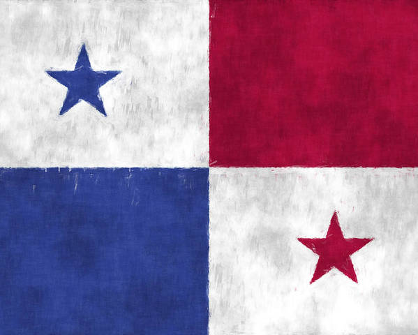 Central America Poster featuring the digital art Flag Of Panama by World Art Prints And Designs