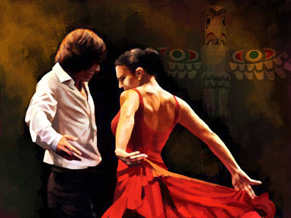 Jazz Poster featuring the painting Flamenco Dancer 012 by Catf